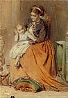 George Elgar Hicks A girl listening to the ticking of a pocket watch while sitting on her mothers lap painting