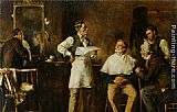 George Elgar Hicks The Barbers Shop painting