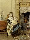 George Goodwin Kilburne Minding Baby painting