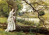 George Goodwin Kilburne On The River Bank painting