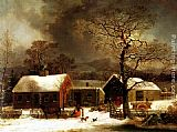 George Henry Durrie Winter Scene in New Haven painting