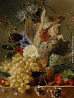 George Jacobus Johannes Van Grapes Strawberries Chestnuts an Apple and Spring Flowers painting