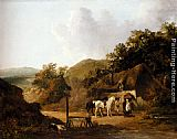 George Morland Taking Refreshments Outside A Village Inn painting