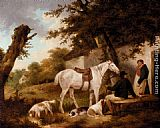 George Morland Travellers Resting Outside The Bell Inn painting