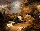 George Morland Two Men Hunting Rabbits With Their Dog, A Village Beyond painting