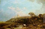 George Vicat Cole Cattle watering Windsor Castle beyond painting