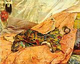 Georges Antoine Rochegrosse A Portrait of Sarah Bernhardt, reclining in a chinois interior painting