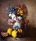 Germain Theodure Clement Ribot A Still Life with a Vase of Flowers and Fruit painting