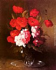Germain Theodure Clement Ribot Pink Peonies and Poppies in a Glass Vase painting