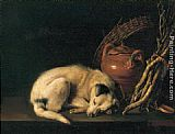 mad dogs Paintings - Sleeping Dog with Terracotta Jug, Basket and Kindling Wood