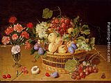 A Still Life Of A Vase Of Carnations To The Left Of A Basket Of Fruit