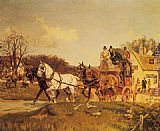 Gilbert Scott Wright A Coach and Four Leaving an Inn painting