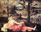 Giovanni Cariani Reclining Woman in a Landscape painting