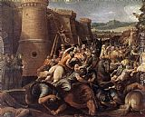 Giuseppe Cesari St Clare with the Scene of the Siege of Assisi painting