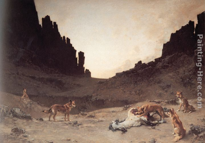 Gustave Achille Guillaumet Dogs of the Douar Devouring a Dead Hourse in the Gorges of El Kantar