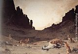 mad dogs Framed Prints - Dogs of the Douar Devouring a Dead Hourse in the Gorges of El Kantar