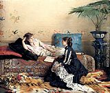 Gustave Leonhard de Jonghe Idle Moments painting