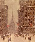 Guy Carleton Wiggins Trinity Church, Wall Street painting