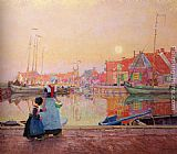 Hans Herrmann A Dutch Fishing-Village At Dusk With Figures On A Quay painting