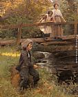 Harold Harvey Fishing By A Forest Stream painting