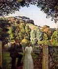 Harold Harvey Midge Bruford And Her Fiance At Chywoone Hill, Newlyn painting