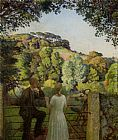 Harold Harvey Midge Bruford and Her Fiance at Chywoone Hill Newlyn painting