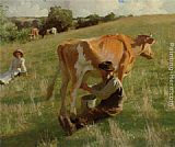 Harold Harvey Summer Milking painting
