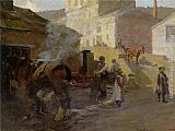 Harold Harvey The Blacksmiths Forge Newlyn painting