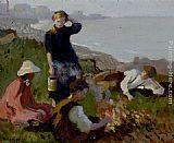 Harold Harvey The Bonfire painting