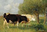 Heirich von Zugel Two Cows in a Meadow painting