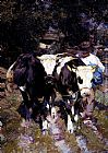 Heirich von Zugel Two Harnessed Calves painting