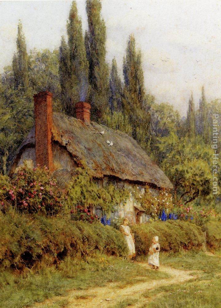 Helen Mary Elizabeth Allingham Children On A Path Outside A Thatched Cottage, West Horsley, Surrey