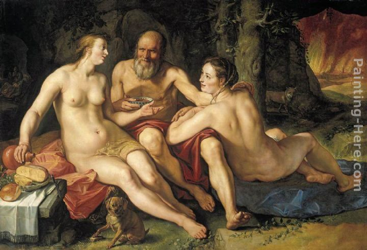 Hendrick Goltzius Lot and his Daughters