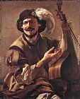 Hendrick Terbrugghen A Laughing Bravo with a Bass Viol and a Glass painting