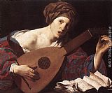 Hendrick Terbrugghen Woman Playing the Lute painting