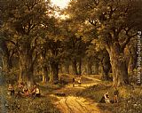 Hendrik Barend Koekkoek Peasants Preparing a Meal near a Wooded Path painting