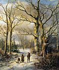 Hendrik Barend Koekkoek Woodgatherers in a Winter Forest painting