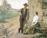 two couples Paintings - Peasant Couple in Farmyard