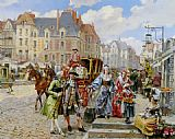 Henri Victor Lesur Paris Street in the time of Louis XIV painting
