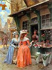 Henri Victor Lesur The Flower Market painting