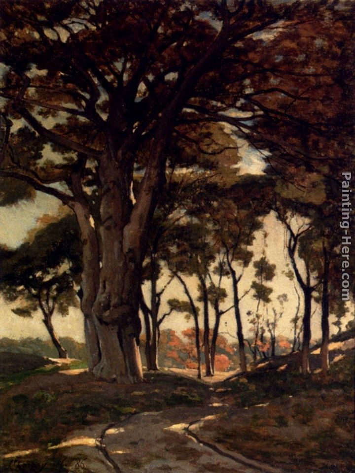 Henri-Joseph Harpignies Wooded Landscape With A Cart Path
