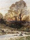 Henri-Joseph Harpignies A Rocky Landscape with a Torrent of Water painting