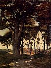 Henri-Joseph Harpignies Wooded Landscape With A Cart Path painting