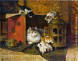 Henriette Ronner-Knip A Mother Cat Watching Her Kittens Playing painting