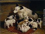 Henriette Ronner-Knip A dog and her puppies painting