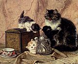 Henriette Ronner-Knip Teatime For Kittens painting