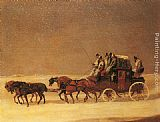 Henry Alken The Derby and London Royal Mail on the Open Road in Winter painting