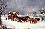 Henry Alken The York to London Royal Mail on the Open Road in Winter painting