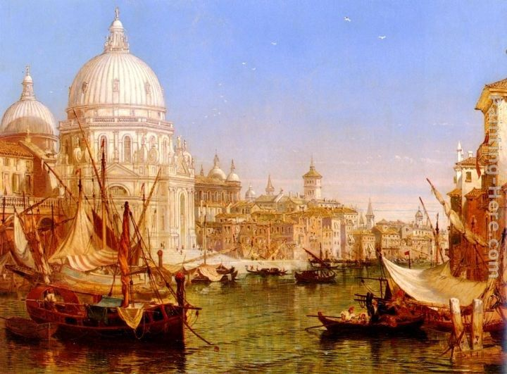 Henry Courtney Selous A View Along The Grand Canal With Santa Maria Della Salute