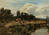 Henry Hillier Parker Harvesting on the Banks of the Thames painting